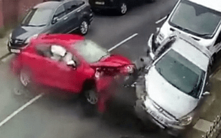 Out-of-control Peugeot crashes into four parked cars
