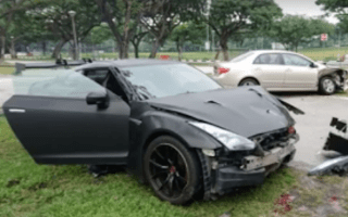 Shocking footage shows teenager crashing Nissan GT-R into a Toyota