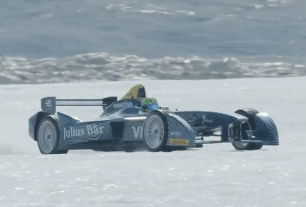 Formula E car races on ice caps to highlight climate change