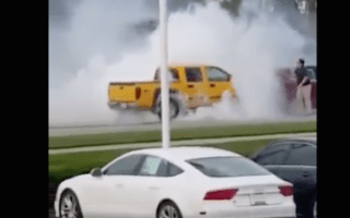 Driver passes out behind the wheel and pulls massive burnout