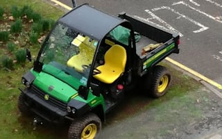 Traffic warden slaps parking ticket on council gardening buggy