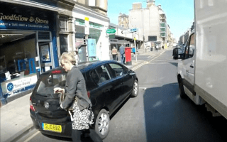 Cyclist nearly hit by NHS van after getting back on bike for first time in 20 years