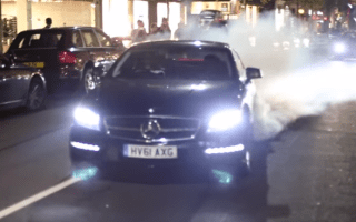 Mercedes performs huge burnout in central London