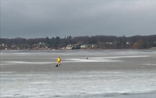 Firefighters rescue dog from frozen lake
