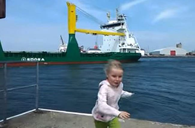 Watch: Why is this little girl running away from a ship?