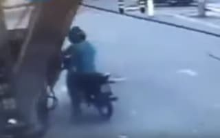 Moped rider is squashed by falling fuel dispenser in Brazil