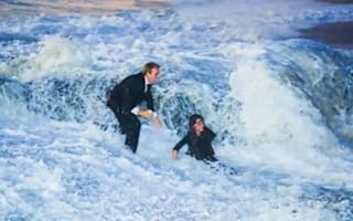 Woman swept off her feet when wave turns boyfriend's proposal into washout