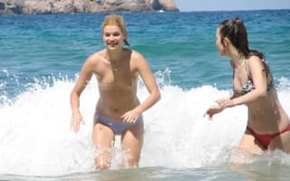 Pixie Geldof goes topless at the beach in Ibiza