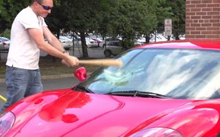 Ferrari owner smashes windscreen for a joke that immediately backfires