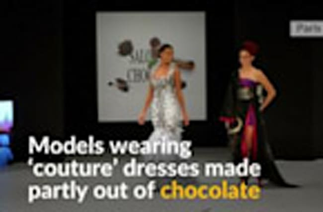 Couture dresses for the sweet tooth at French fashion show