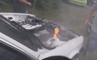 BMW catches fire during car meet in America