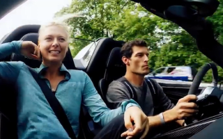 Mark Webber takes Maria Sharapova for a spin in a Porsche 918 Spyder