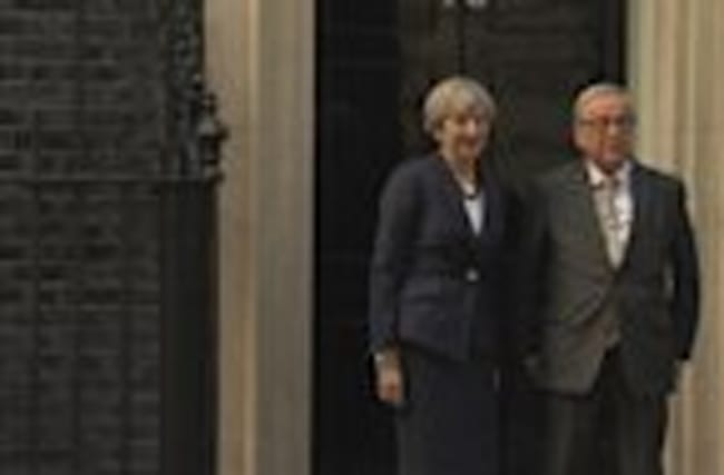 May and Junker hold off on handshake outside Number 10