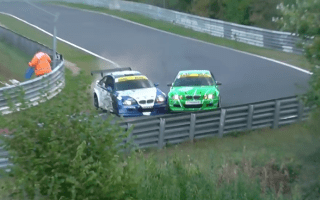 Failed overtake causes two BMW race cars to crash at the Nurburgring