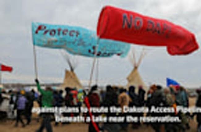 Tribe elders, U.S. veterans protest pipeline