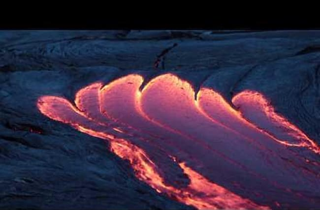 Lava flows from Kilauea Volcano, Hawaii: Beautiful footage
