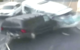 Unbelievable moment a pedestrian dodges death after minibus crash
