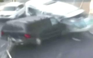 Unbelievable moment a pedestrian dodges death after minibus crash