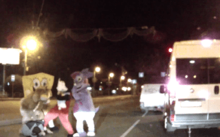 Video: Mickey Mouse and Spongebob take down road rage driver