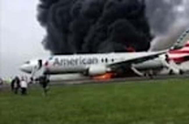 Passenger Records Burning Plane at O'Hare