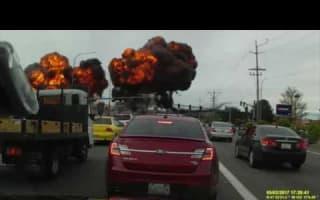 Washington plane explodes into fireball: Car dashcam captures footage