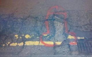 Crusader draws giant penises around Manchester potholes
