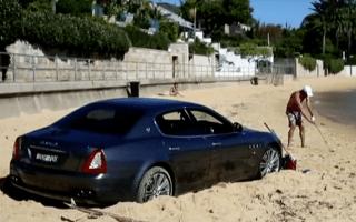 Maserati Quattroporte becomes beached