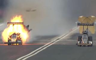 Drag racer explodes during high-speed race in Houston