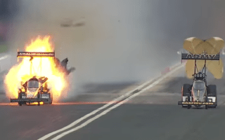 Drag racer explodes during high-speed race in Houston