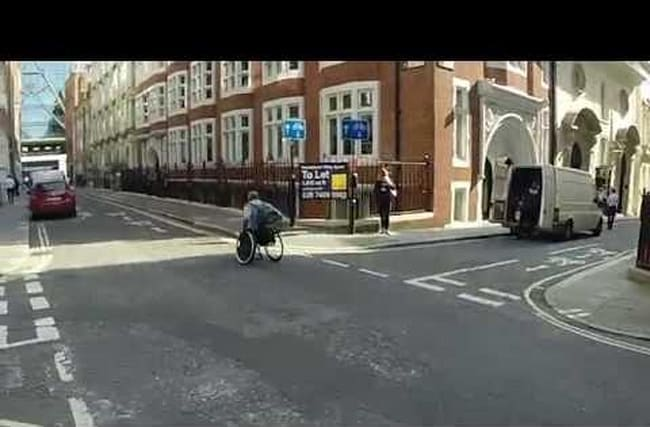 Man races the Tube in a wheelchair