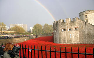 Rainbow lights up Tower of London poppies exhibition