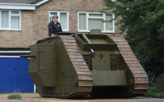 Military enthusiast parks WWI tank on driveway