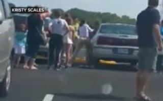 Video: Mum smashes car window to rescue child locked inside