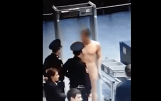 Airport worker strips naked at security scanner in protest against guards