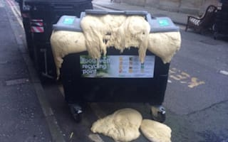 'Dough Monster'! Recycling bin overflows with exploding pizza