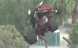 High-powered sprint car launched into air during practice