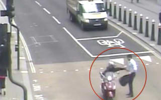Moped-riding mobile phone thieves caught on camera