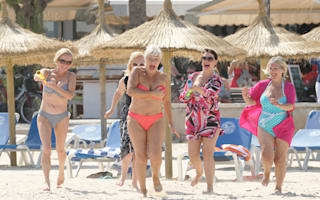 Denise Welch has fun in the sun on girls' holiday to Majorca