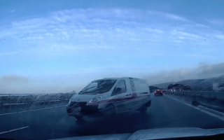 Dashcam captures moment a van spins out on the motorway