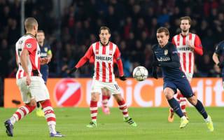 PSV 0 Atletico Madrid 0: Zoet excels for 10-man hosts