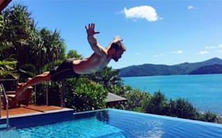 Chris Hemsworth dives into pool at luxury Australian retreat
