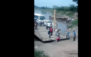 Man almost crushed getting off a ferry (video)