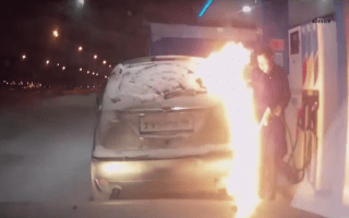 Driver caught on camera accidentally setting her car on fire