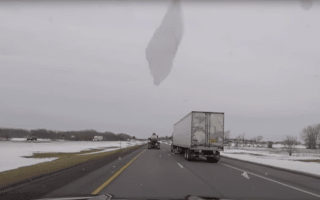 Driver stays calm despite windscreen being destroyed