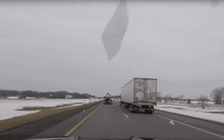Driver stays calm despite windscreen being destroyed