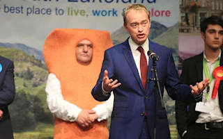 Could do batter! Tim Farron upstaged by a fish finger at election result