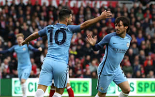 Aguero and Silva train with Manchester City after Wembley injuries