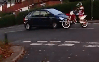Reckless rider nearly causes crash at busy junction