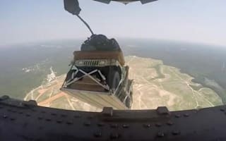 US military drops Humvees from planes