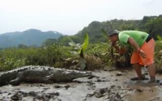 Man feeds deadly crocodile like puppy (video)